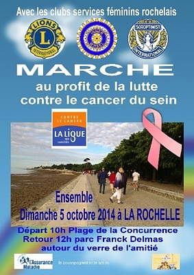 illustration de Avec les clubs services féminins de La Rochelle : marche au profit de la lutte contre le cancer du sein, dimanche 5 octobre 2014
