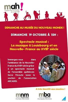 illustration de À La Rochelle : un dimanche au musée du Nouveau-Monde, spectacle musical le 19 octobre 2014