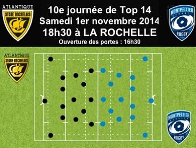 illustration de La Rochelle rugby - 10e journée de Top 14 : le Stade Rochelais reçoit Montpellier, samedi 1er novembre 2014