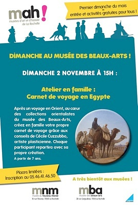 illustration de À La Rochelle : un dimanche au musée des Beaux-Arts, carnet de voyage en Egypte, atelier familial le 2 novembre 2014