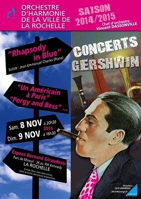 illustration de L'Orchestre d'harmonie de la Ville de La Rochelle joue Gershwin, concerts gratuits, samedi 8 et dimanche 9 novembre 2014