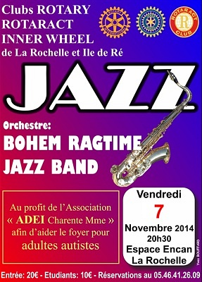 illustration de La Rochelle : Bohem Ragtime Jazz Band, grand concert caritatif des clubs Rotary, vendredi 7 novembre 2014