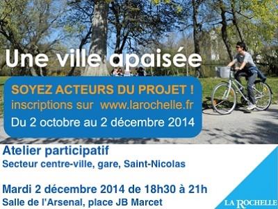 illustration de La Rochelle ville apaisée : atelier de concertation pour le secteur centre-ville, gare, St Nicolas, mardi 2 décembre 2014 à 18h30