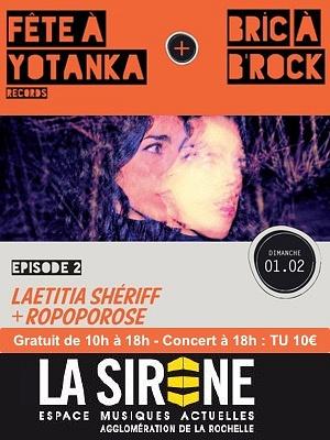 illustration de Indie pop-rock à La Rochelle : focus Yotanka part. 2 avec Laetitia Shériff  et Ropopose, dimanche 1er février 2015 à 18h
