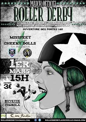 illustration de Roller Derby : les Hell'R Cheeky Dolls de La Rochelle vs les Missfeet du Mans, match à Marsilly, dimanche 1er mars 2015 !