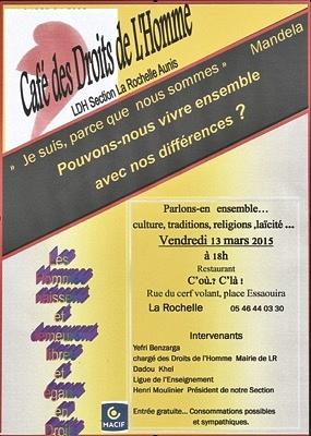 illustration de Café des droits de l'Homme à La Rochelle : pouvons-nous vivre ensemble avec nos différences ?  Vendredi 13 mars à 18h