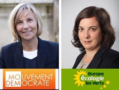 illustration de La Rochelle :  Emmanuelle Cosse avec les écologistes le 16/03, Marielle de Sarnez avec les centristes le 17/03 avant le 1er tour des départementales 2015