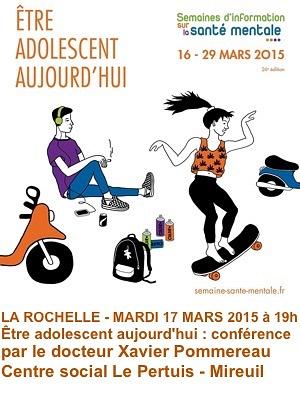illustration de Semaines d'information sur la santé mentale à La Rochelle : être adolescent aujourd'hui, conférence mardi 17 mars 2015