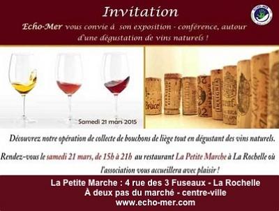 illustration de La Rochelle : recyclage des bouchons en liège et conférence sur les pesticides et la vigne avec Echo-Mer, samedi 21 mars 15h-21h à La Petite Marche