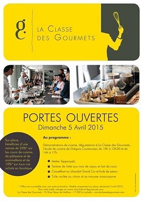 illustration de Cours de cuisine à La Rochelle : portes ouvertes, dégustations et réductions à La Classe des Gourmets, dimanche 5 avril 2015 !