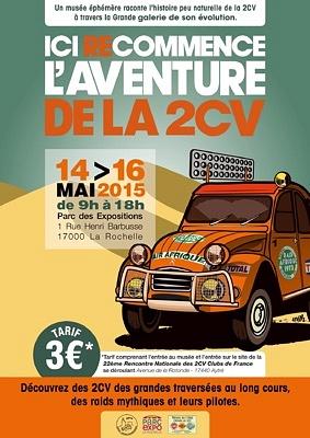 illustration de L'aventure de la 2CV : exposition à La Rochelle du jeudi 14 au samedi 16 mai 2015