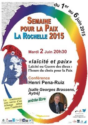 illustration de La Rochelle Agglo : laïcité et paix, une conférence d'Henri Pena-Ruiz à Aytré, mardi 2 juin 2015