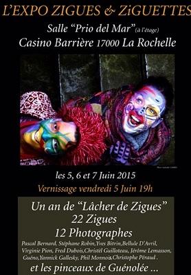 illustration de Zigues et Ziguettes à La Rochelle : expo collective autour des peintures sur visages et corps de Guénolée Carrel du 5 au 7 juin 2015