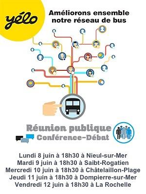 illustration de Mobilité La Rochelle Agglo : nouveau réseau de bus horizon 2017, 5 réunions de concertation du 8 au 12 juin 2015