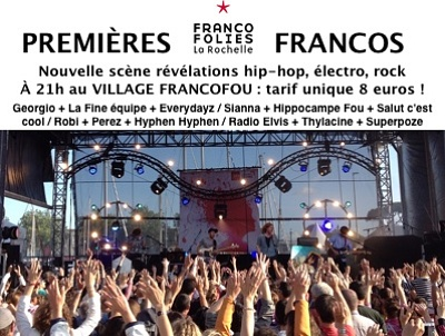 illustration de Francofolies de La Rochelle à petit prix : révélations hip-hop, électro, rock aux 1ères Francos du Village Francofou