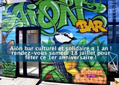 illustration de À La Rochelle : Aiôn, bar culturel et solidaire a 1 an et fête ce premier anniversaire, samedi 18 juillet 2015