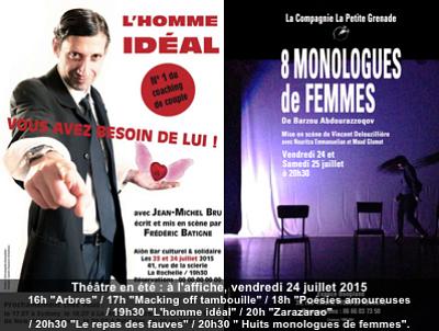 illustration de La Rochelle : conte, clown, spectacle de rue, seul en scène, théâtre à l'affiche du festival d'été, vendredi 24 juillet 2015