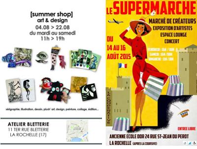 illustration de Artistes à La Rochelle : supermarche de l'art, summer shop et Place(s) aux artistes, août 2015