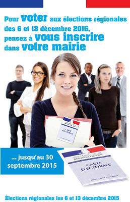 illustration de Aquitaine - Limousion - Poitou-Charentes : élections régionales des 6 et 13 décembre 2015, inscriptions sur les listes électorales jusqu'au 30 septembre 2015
