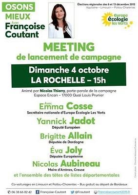 illustration de Grand meeting Europe Écologie Les Verts à La Rochelle pour le lancement de campagne de Françoise Coutant, dimanche 4 octobre 2015 à 15h à l'Encan