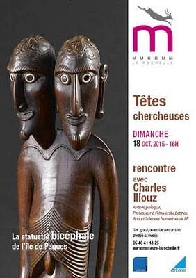 illustration de Avec les têtes chercheuses au Muséum de La Rochelle : la statuette bicéphale  bicéphale de l'île de Pâques, dimanche 18 octobre à 16h