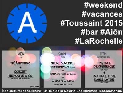illustration de Ce week-end chez Aiôn à La Rochelle : théâtre d'impro, concert festif, scène ouverte soul-funk et dance floor latino du 23 au 26 octobre 2015 !