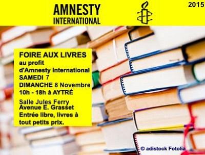 illustration de La Rochelle - Aytré : foire aux livres au profit d'Amnesty International samedi 7 et dimanche 8 novembre 2015