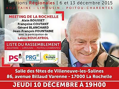 illustration de Régionales Aquitaine Limousin Poitou-Charentes : Alain Rousset à La Rochelle, jeudi 10 décembre à 19h
