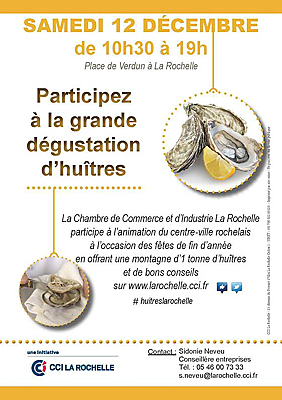 illustration de Dégustation d'huîtres à La Rochelle au village de Noël de la place de Verdun, samedi 12 décembre 2015