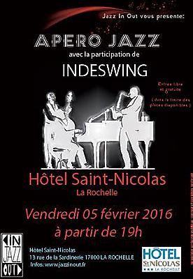 illustration de La Rochelle : premier apéro Jazz in Out 2016 à l'Hôtel Saint Nicolas, vendredi 5 février à 19h