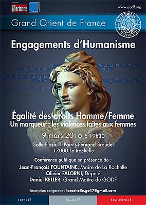 illustration de Conférence publique à La Rochelle  : égalité des droits hommes-femmes à l'invitation du Grand Orient de Frane, mercredi 9 mars 2016