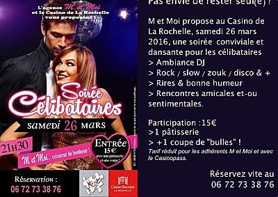 illustration de Soirée dansante pour les célibataires à La Rochelle, samedi 26 mars 2016 au Casino Barrière
