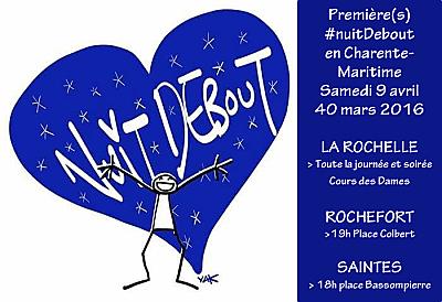 illustration de Nuit Debout à La Rochelle, Rochefort et Saintes : 1ers RV en Charente-Maritime, samedi 9 avril 2016