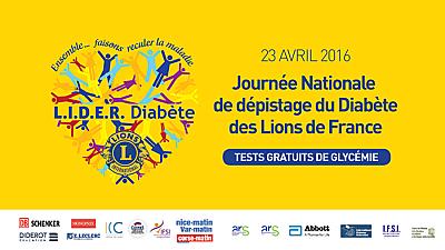 illustration de Aquitaine - Limousin - Poitou-Charentes : L.I.D.E.R diabète, campagne de dépistage avec les Lions clubs, samedi 23 avril 2016