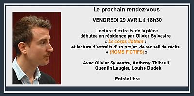 illustration de Rencontre et lecture à La Rochelle avec Olivier Sylvestre au Centre Intermondes, vendredi 29 avril