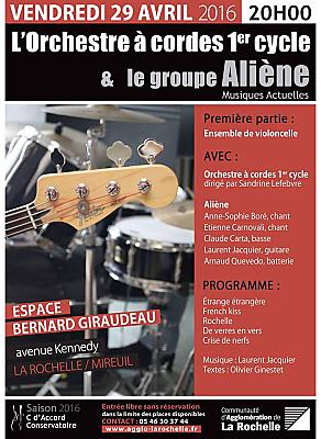 illustration de Orchestre à cordes et pop-rock à La Rochelle : Aliène en concert gratuit à l'Espace Giraudeau, vendredi 29 avril 2016