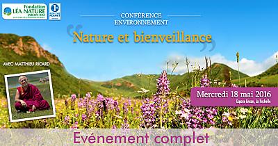illustration de À La Rochelle : la conférence de Matthieu Ricard proposée par la Fondation Léa Nature affiche complet ! Suivez-la en direct sur Youtube,  mercredi 18 mai 2016 !