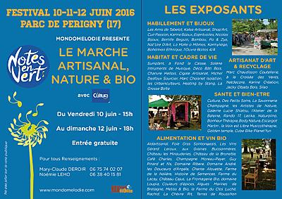 illustration de La Rochelle - Périgny : le marché artisanal, nature et bio du festival Notes en Vert ouvre les 10, 11 et 12 juin 2016 !