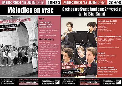 illustration de Conservatoire de La Rochelle : deux concerts gratuits, mercredi 15 juin 2016 à 18h30 et à 20h