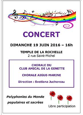 illustration de Concert à La Rochelle : deux chorales sous la direction de Svetlana Juchereau, dimanche 19 juin 2016 à 16h