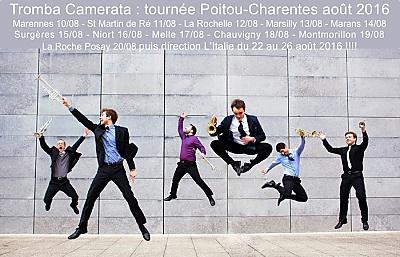 illustration de De La Rochelle jusqu'à La Roche Posay : tournée d'été de l'ensemble de trompettes Tromba Camerata du 10 au 20 août en Poitou-Charentes