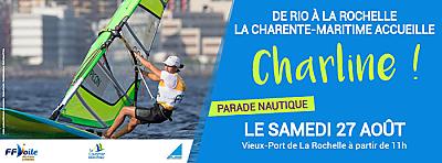 illustration de Jeux Olympiques 2016 : événement nautique à La Rochelle pour retour de Charline Picon, médaille d'or à Rio, samedi 27 août 2016