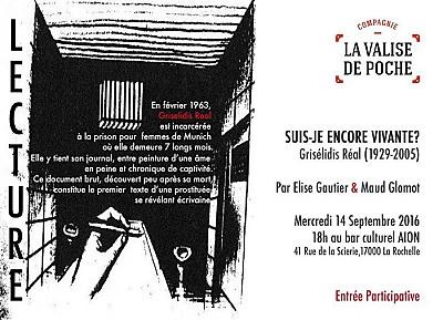 illustration de Lecture publique chez Aiôn : textes de Grisélidis Réal par La Valise de poche, mercredi 14 septembre 2016 à 18h