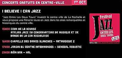 illustration de Jazz Entre Les Deux Tours à La Rochelle : I belive I can Jazz et concert à 21h à l'Aiôn, samedi 1er octobre 2016 !
