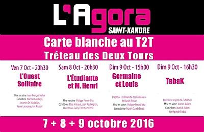 illustration de La Rochelle Agglo : carte blanche théâtre au T2T à l'Agora de Saint-Xandre les 7, 8 et 9 octobre 2016