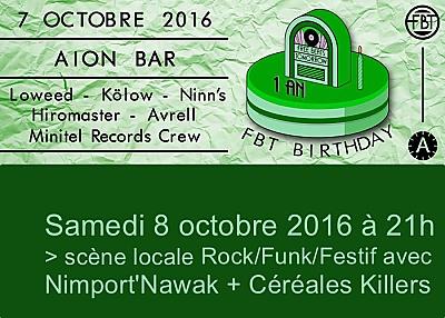 illustration de Chez Aiôn à La Rochelle :  Free beats tomorrow B'Day, vendredi 7 et scène locale, samedi 8 octobre 2016