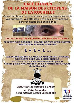 illustration de La Maison des citoyens de La Rochelle : café participatif avec Alexandre Jardin, vendredi 28 octobre 2016