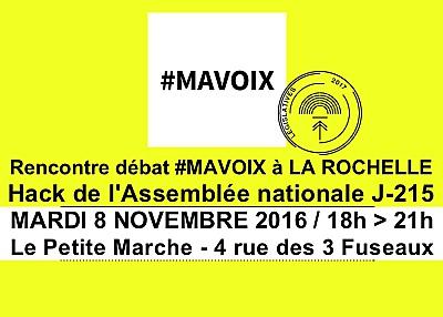 illustration de Rencontre avec Ma voix à La Rochelle : objectif juin 2017, hacker l'Assemblée nationale, mardi 8 novembre 2016