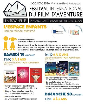 illustration de Petits aventuriers à La Rochelle : RV à l'espace enfants du Festival du film d'aventure 16-20 novembre 2016