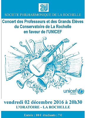 illustration de Concert à La Rochelle au profit de l'Unicef : cordes, guitares et ensemble vocal féminin, vendredi 2 décembre 2016